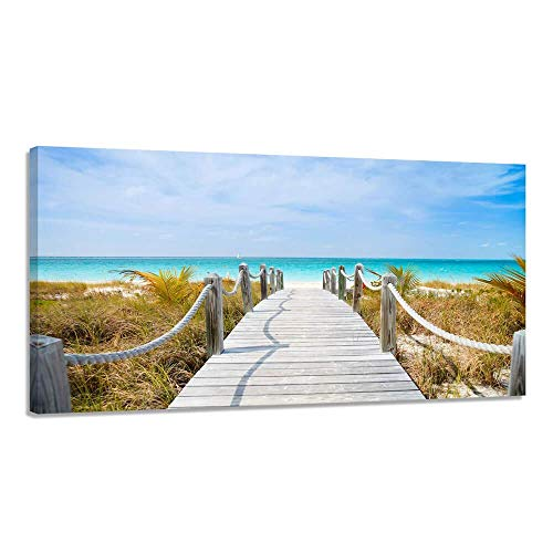 Beach Canvas Picture Prints Large Wall Decoration for Living Room Modern Seascape Boardwalk Giclee Artwork Framed 24x48'