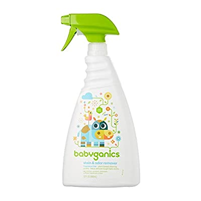 Babyganics Stain & Odor Remover Spray, Fragrance Free, 32oz Spray Bottle (Pack of 3)