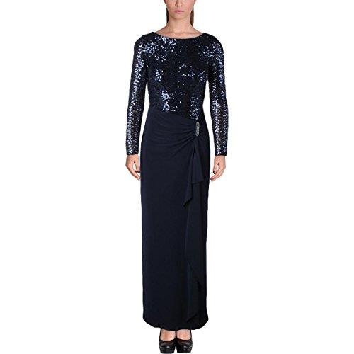 Lauren Ralph Lauren Womens Fleurana Sequined Gathered Formal Dress Navy (Ralph Lauren Silk Dress)