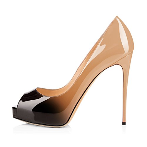 Fsj Women Graceful Peep Toe Pumps Tacchi Alti Con Plateau Slip On Party Prom Shoes Taglia 4-15 Us Nude-gradient