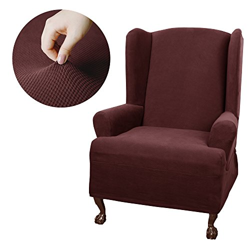 - MAYTEX Pixel Stretch 1-Piece Wing Back Arm Chair Furniture Cover/Slipcover, Wine