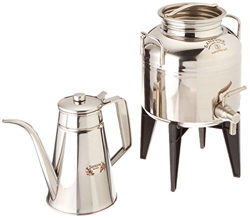 Sansone Italian Fusti & Stainless Steel Oil Cruet Gift Set, 3 L, Silver by Sansone