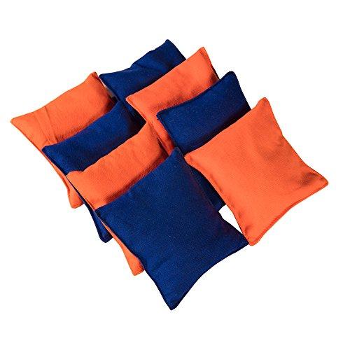 Sports Festival ® Premium Weatherproof Canvas Regulation Cornhole Bags Orange and Blue (Set of 8) CornholeBeanBagSet for core toss Game ()