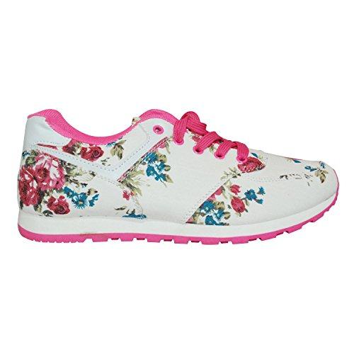 Fleur Rose Gr De Course Femme Sneaker Sport Jeanstotal Fitness Loisirs Turn 36–41 Blanc Chaussures xqTSzv