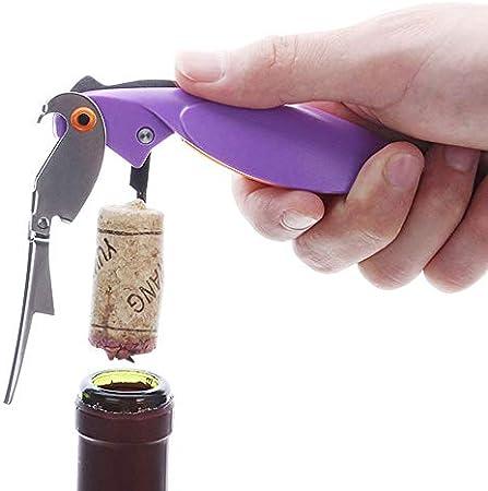 Sacacorchos Multifunción Color aleatorio de abridor de botellas de vino de acero inoxidable Parrot de 3 piezas