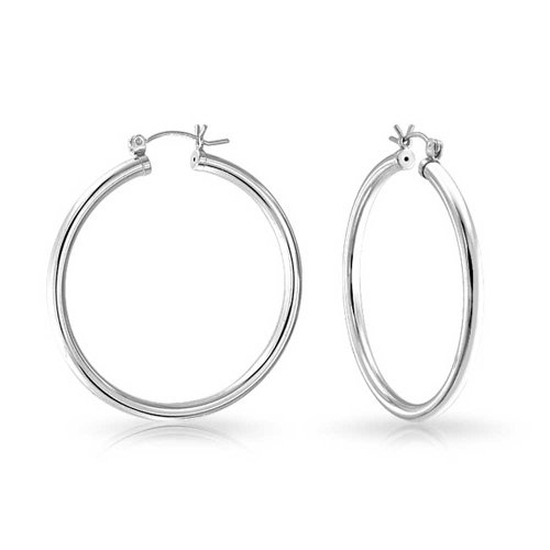 (.925 Sterling Silver Round Hoop Earrings 1.5in)
