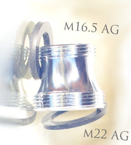 M16,5 male x M22 male, long, chrome coated, thread adapte...