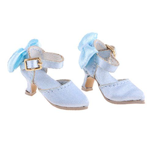 Homyl Popular Doll Summer Pointed Toe Shoes Sandal Block High-heeled Shoes for 1:6 Blythe, Azone, Licca Dolls Blue