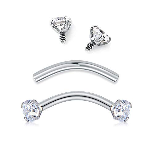 Briana Williams Rook Earrings- 16G CZ Curved Barbell Eyebrow Belly Lip Rings Daith Conch Earring Piercing Jewelry 3/8