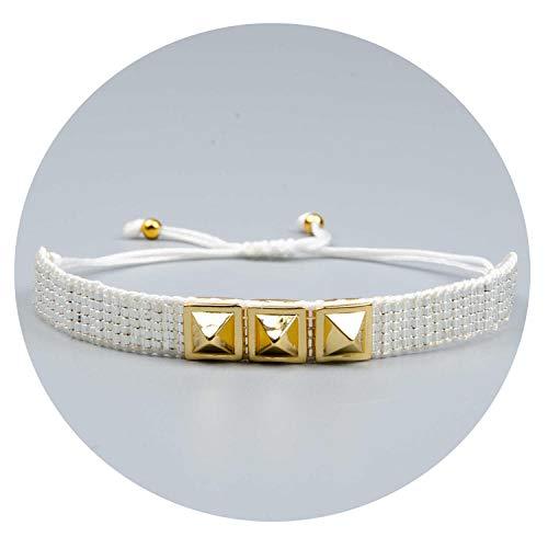 - Only Shopping Can Heal Me Bracelet Gold Rivet Bracelets Cuff Pulseira Women Jewelry Bileklik Handmade Woven Delica Beads Party Boho Gift,MI-B180426J Handmade