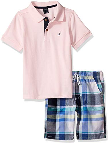 Nautica Sets (KHQ) Boys' Toddler 2 Pieces Polo Shorts Set, Pink/Plaid -