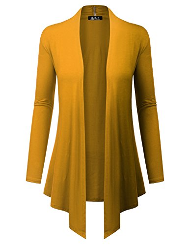 - BH B.I.L.Y USA Women's Open Front Drape Hem Lightweight Cardigan with Pockets Mustard Large