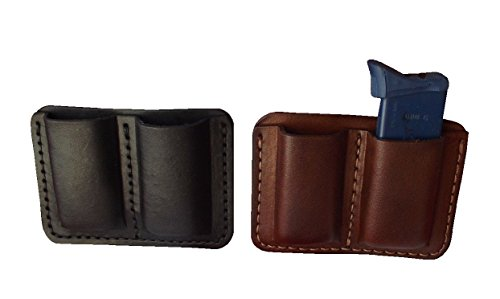 Black Single Stack - J&J Custom Premium Leather 9mm Single Stack Double Magazine Carrier Holder Holster W/Belt Clip (BLACK)