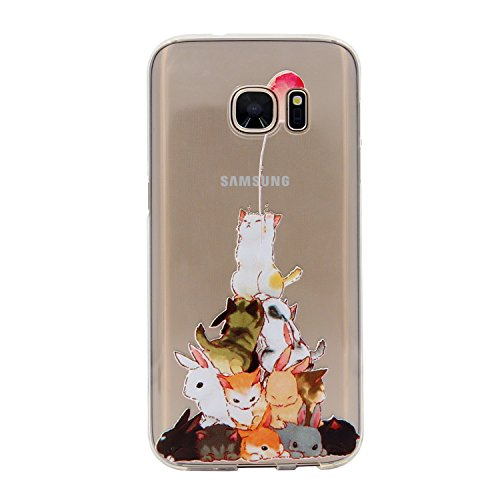 Galaxy S7 Edge Case, MC Fashion Ultra Thin Embossed Printing Cute Animals Pattern Clear Transparent TPU Rubber Flexible Slim Skin Soft Case for Samsung Galaxy S7 Edge (Cats and Rabbits)