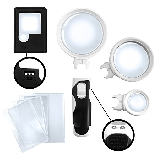 Crown Optix Magnifying Glass with Light with Pocket Magnifying Glass and 3 x Fresnel Lens for - Three Light Optix