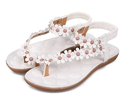 Womens Bohemia Style Sling Sandals Flower Beads T-Strap Flip Flop Flats Slip On Thong Sweet Shoes For Summer Beach (9 US/EU 40, white) (Toe Ring Stylish)
