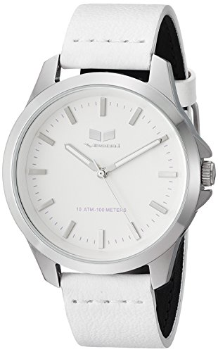 Vestal Quartz Stainless Steel and Leather Casual Watch, Color White (Model: HEI393L15.WH)