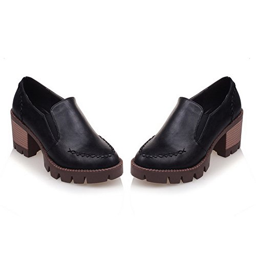 VogueZone009 Women's PU Solid Pull-On Round Closed Toe Kitten-Heels Pumps-Shoes Black EmeS4ZYB