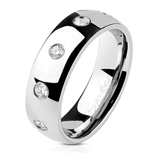 Ten CZ Flush Set Stainless Steel Classic Dome Ring (6mm | Size: 13) ()