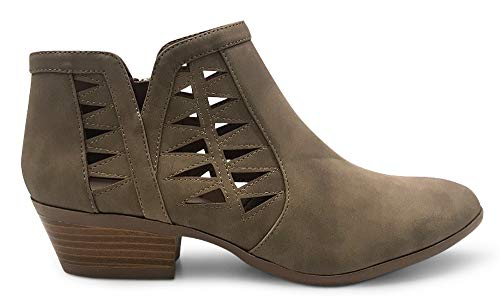 (MARCOREPUBLIC Oslo Womens Perforated Cut Out Side Medium Low Stacked Block Heel Ankle Booties Boots - (Light Taupe) - 6)