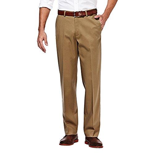 Fit Flat-Front Hidden Expandable Waistband Premium No Iron Khaki, 33W x 32L - Bright Khaki ()