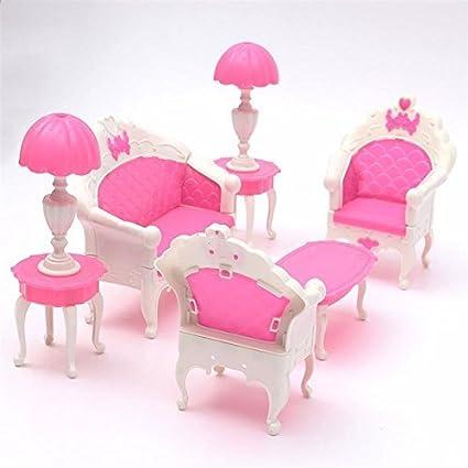 Buy Miniatura Pink Dollhouse Furniture Living Room Parlour Sofa Set ...