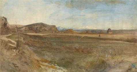 Perfect Effect Canvas ,the Beautiful Art Decorative Prints On Canvas Of Oil Painting 'Campagna Landscape On The Via Flaminia,1869 By Franz Albert Venus', 8x15 Inch / 20x39 Cm Is Best For Bedroom Gallery Art And Home Decoration And Gifts