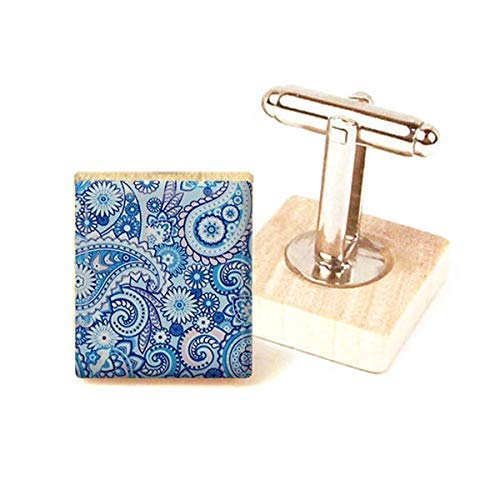 Unique Gift Paisley Print Cufflinks Handmade in the Uk by dandandesigns