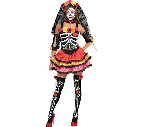 Amscan Day of The Dead Senorita Halloween Costume for Women, Medium, with Included Accessories -