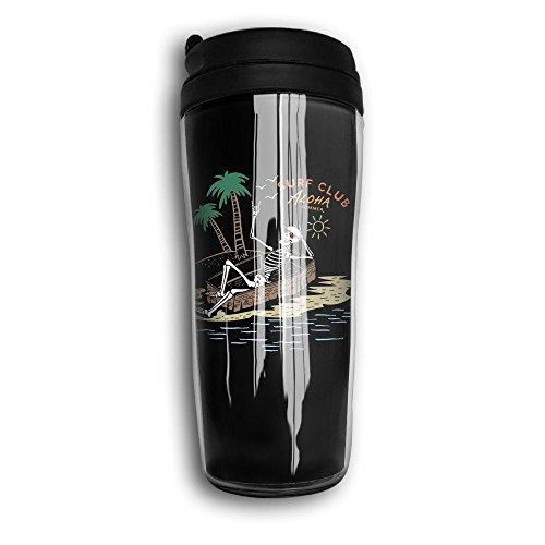 Waterhake Coffee Travel Mug, Funny Skull Aloha Iced Espresso Small Coffee Mug Carry Hand Cup Reusable Plastic Curve Travel Mug Coffee Tumbler For Women Men Kids Teens Adults