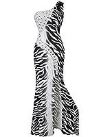 Angel-fashions Women's One Shoulder Zebra Print Furcal Maxi Evening Gown