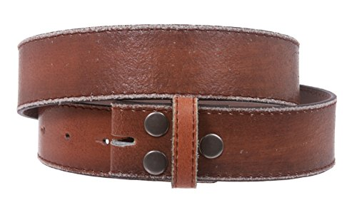 Snap On Genuine Vintage Retro Stitching-Edged Distressed Leather Belt Strap Size: L 36 - 38 Color: Tan