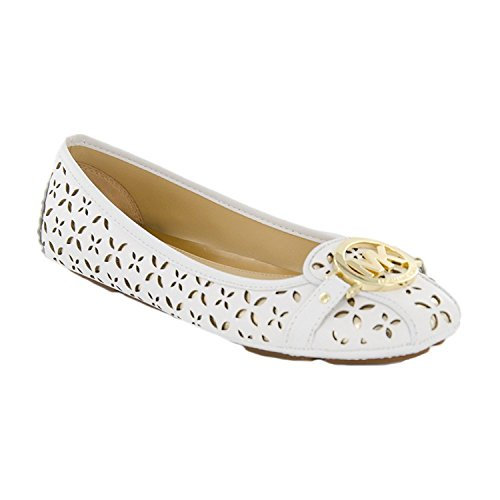 New Michael By Michael Kors Fulton Moc Optic White/Pale Gold 9.5 Womens - Gold Flats Kors Michael