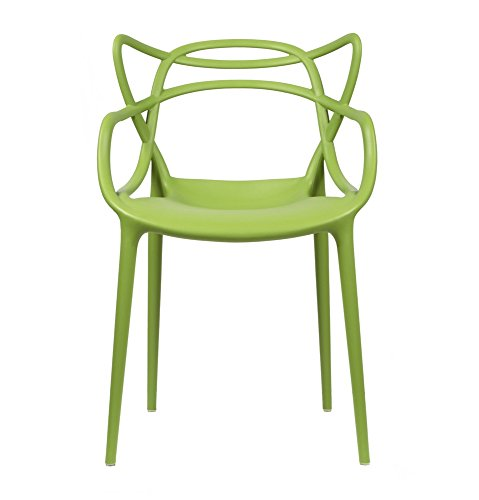 2xhome Set of 2 Green Stackable Contemporary Modern Designer Plastic Chairs with Arms Open Back Armchairs for Kitchen Dining Chair Outdoor Patio Bedroom Accent Patio Balcony Office Work Garden Home For Sale
