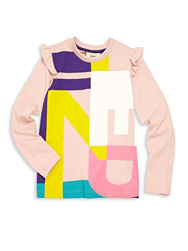 Fendi Big Girl's Logo Graphic Tee Top Pink 14 by Fendi