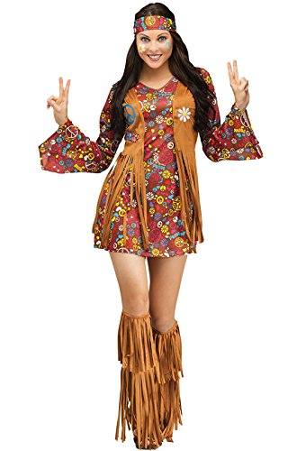 Fun World Costumes Women's Peace Love Hippie Adult Costume, Brown, ()
