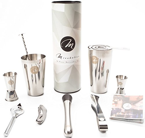 Premium 10 Piece Stainless Steel Professional Boston Cocktail Shaker Mixologist Bartender Barware Set for Alcoholic Drink Making with Gift Box and BONUS Booklet with 10 Cocktail Recipes (Where To Buy Martini Glasses)