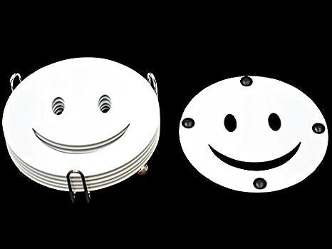disegno: smiley Babavoom Confezione da 6/sottobicchieri o sottotazze con supporto in metallo cromato colore: nero o bianco Black Cup Coasters