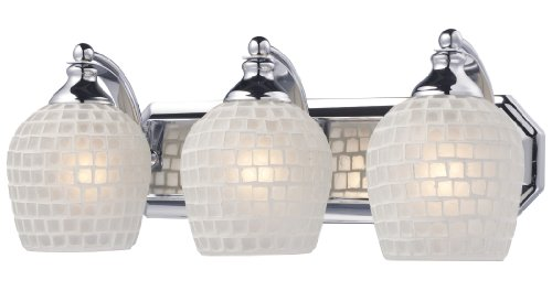 Elk Lighting Chrome Vanity (Elk 570-3C-WHT 3-Light Vanity In Polished Chrome and White Mosaic Glass)