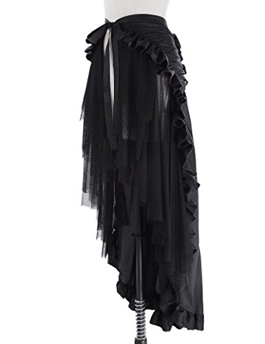 Ladie's Gothic Steampunk Clothing Skirt Lace Up Retro Victorian Punk Cincher Vintage Long Ruffle Skirt 5