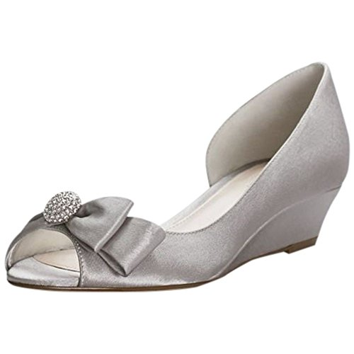 - David's Bridal Bow-Embellished Satin D Orsay Wedges Style Rebecka, Pewter, 8