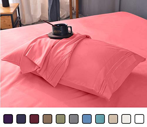 Gener Ultra Soft Luxury Bamboo Sheet Set - Wrinkle Free, Deep Pocket, Machine Washable, Hypoallergenic, Fade Resistant Bedding Set - 4 Piece Set (Queen, Coral)