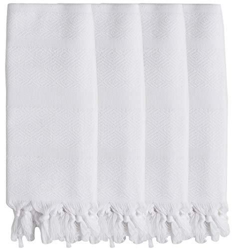 (DEMMEX 2019 Natural Turkish Cotton Diamond Weave Bath Beach Fouta Towel Blanket & Hand Face Towel Wash Dish Cloth Set (4 Hand, White))