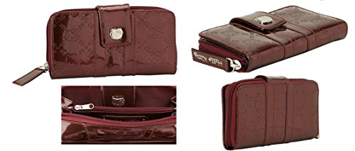 Hello Kitty Patent Burgundy Embossed Wallet ()