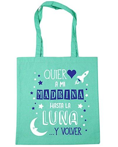 HippoWarehouse ¡Quiero a mi Madrina hasta la Luna y volver! (Azul) Bolso de Playa Bolsa Compra Con Asas para gimnasio 42cm x 38cm 10 litros capacidad Menta