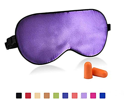 Mask Back Purple Face - Fitglam Natural Silk Sleep Mask, Best Sleeping Mask Eye Mask Eye Cover for Travel, Nap, Meditation, Blindfold with Adjustable Strap for Men, Women and Teenagers (Green)