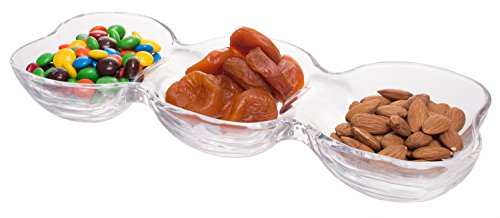 (Modern Clear Glass Connected Snack Bowls - 3 Section Serving Platter)