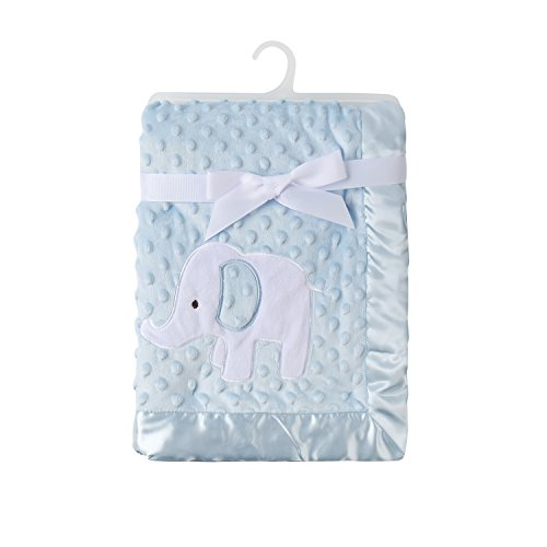 KIKI & ANNA Baby Soft Fleece Mink Blanket with Double Layer Dot Veloba ,Satin Trim Blanket for Grils and Boys 30x40Inches