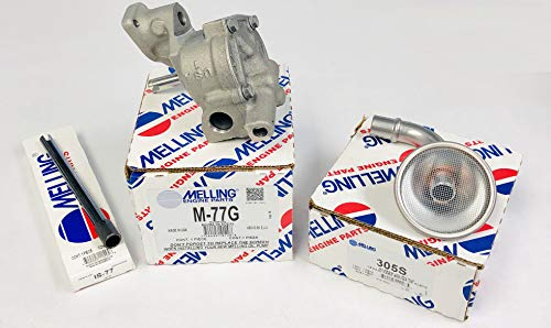 New Melling M77G Oil Pump, IS77 Steel Drive Shaft & Pick UP Screen compatible with Chevy bbc 366 396 402 427 454 496. Fits 7 1/2