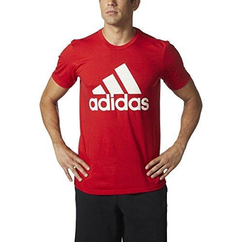 adidas Men's Badge of Sport Graphic Tee, Scarlet/White/Grey, Medium